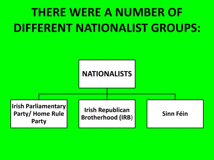 THERE WERE A NUMBER OF DIFFERENT NATIONALIST GROUPS: