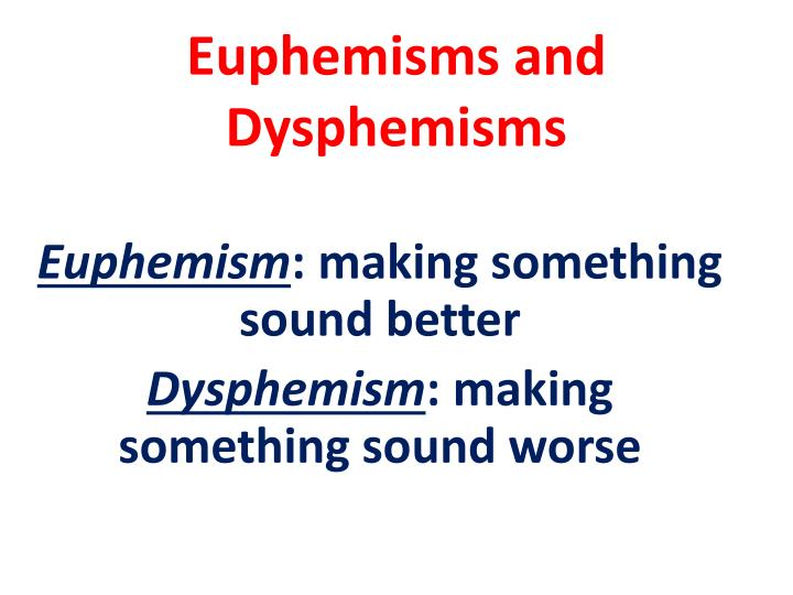 Euphemisms and Dysphemisms