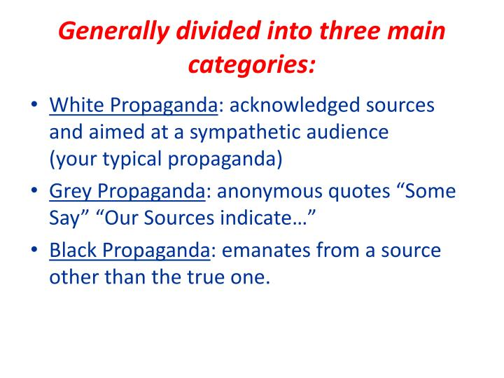 Generally divided into three main categories: