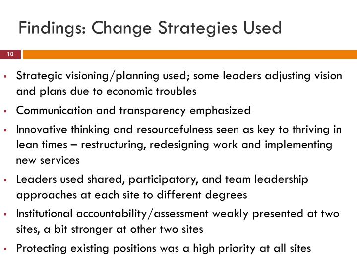 Findings: Change Strategies Used