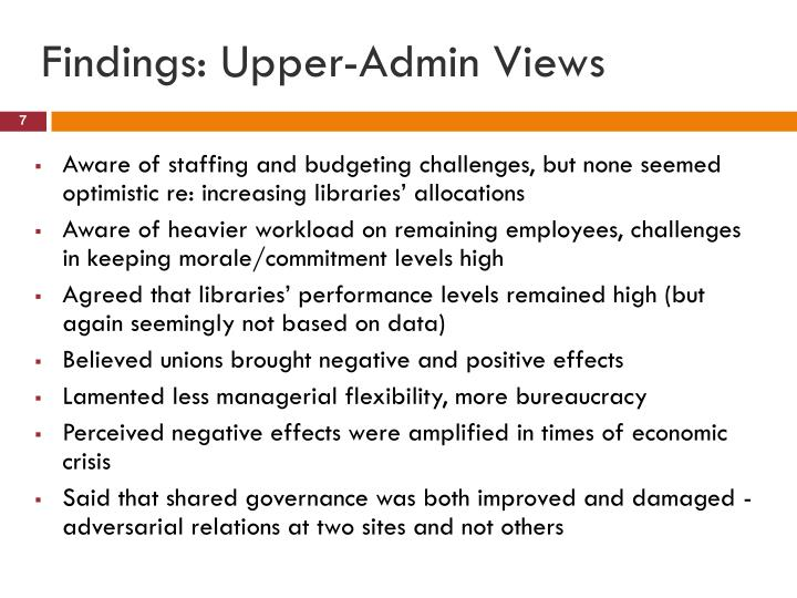 Findings: Upper-Admin Views
