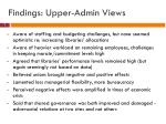 findings upper admin views