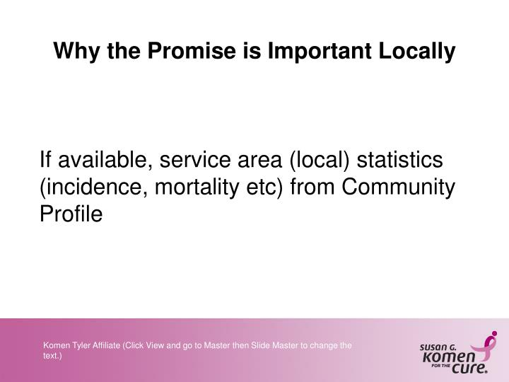 Why the Promise is Important Locally