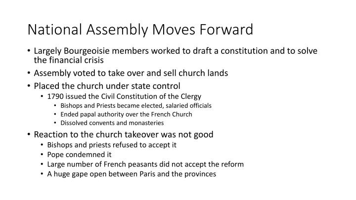 National Assembly Moves Forward