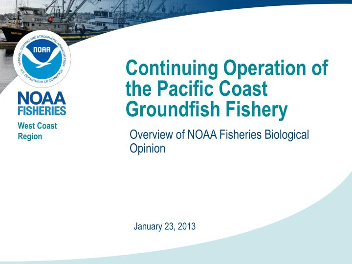 Continuing operation of the pacific coast groundfish fishery