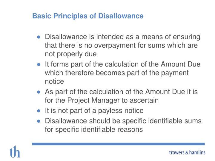 Basic Principles of Disallowance
