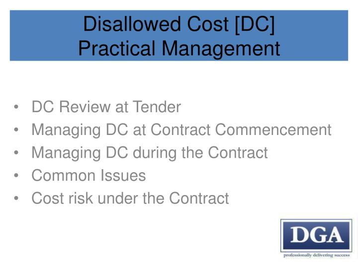 Disallowed Cost [DC]