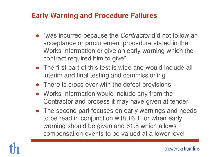 Early Warning and Procedure Failures