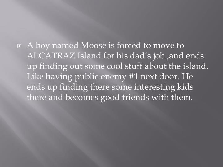 A boy named Moose is forced to move to ALCATRAZ Island for his dad's job ,and ends up finding out some cool stuff about the island. Like having public enemy #1 next door. He ends up finding there some interesting kids there and becomes good friends with them.