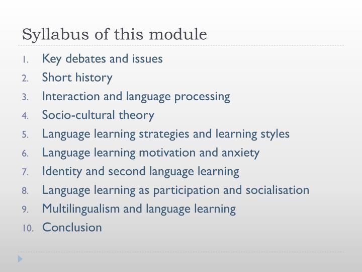 Syllabus of this module