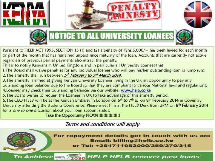 Pursuant to HELB ACT 1995, SECTION 15 (1) and (2) a penalty of Kshs.5,000/= has been levied for each...