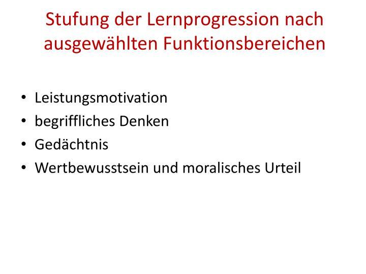 Stufung der Lernprogression nach ausgewählten Funktionsbereichen