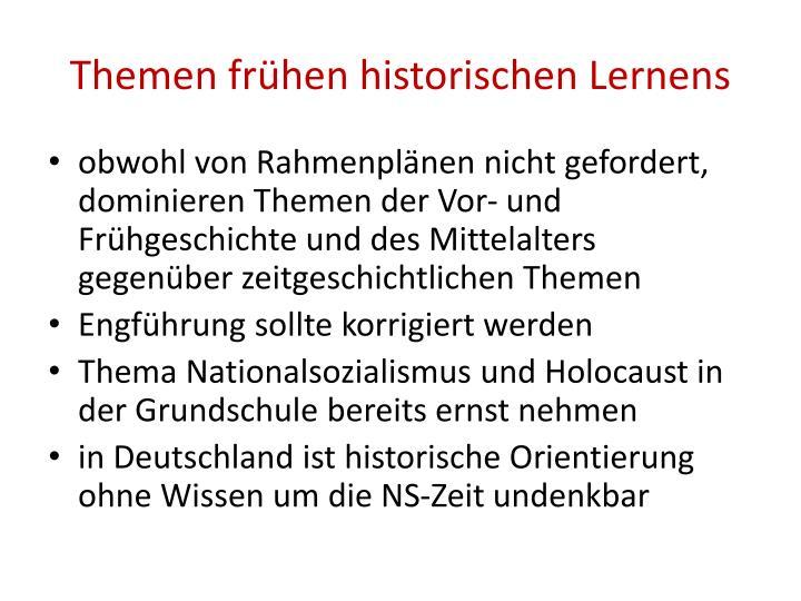 Themen frühen historischen Lernens