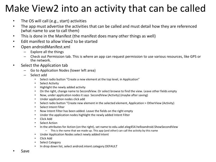 Make View2 into an activity that can be called
