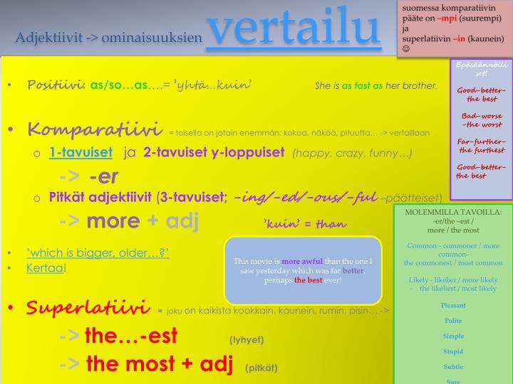 Adjektiivit -> ominaisuuksien