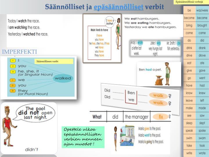 Epäsäännöllisiä verbejä
