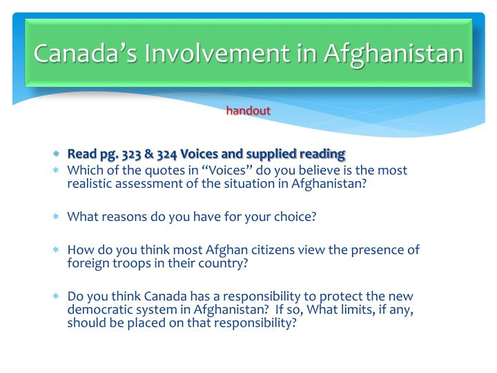 Canada's Involvement in Afghanistan