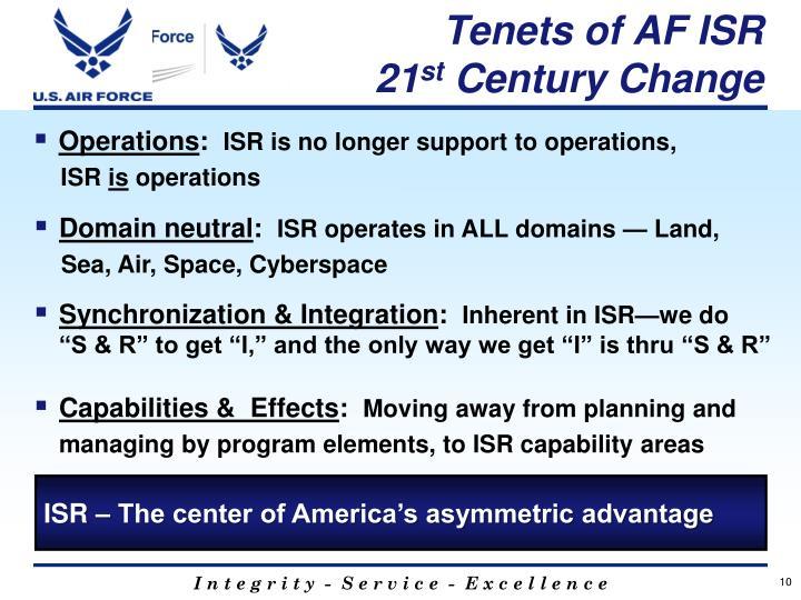 Tenets of AF ISR