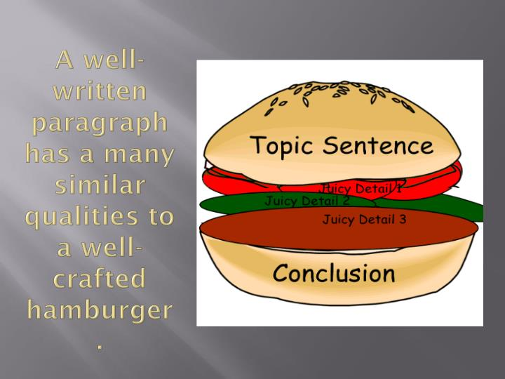 A well written paragraph has a many similar qualities to a well crafted hamburger