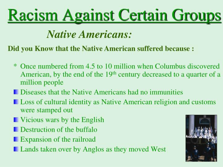 Racism Against Certain Groups