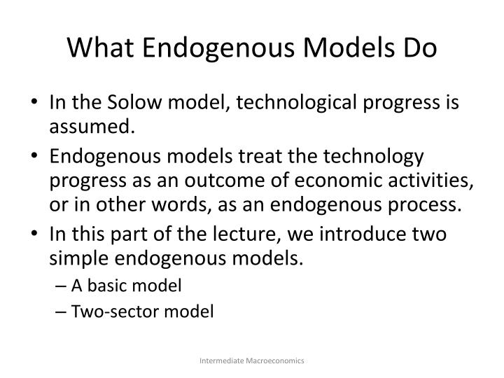 What Endogenous Models Do