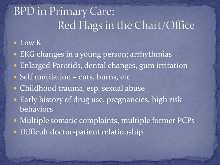 BPD in Primary Care: