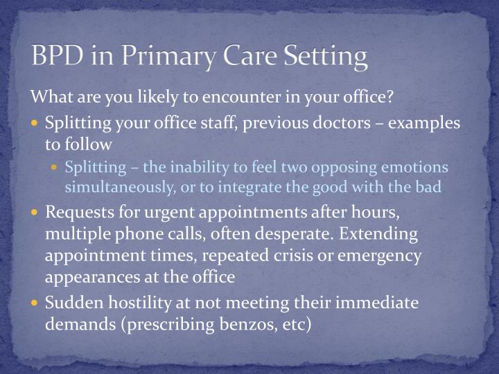 BPD in Primary Care Setting