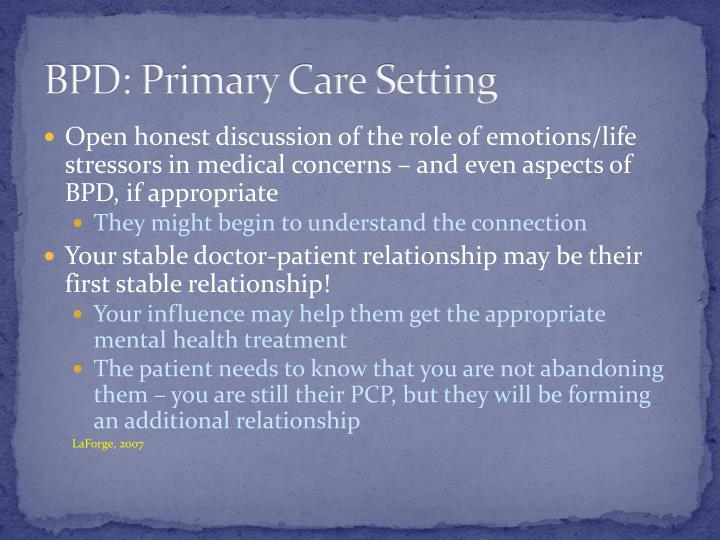 BPD: Primary Care Setting