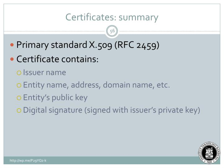 Certificates: summary