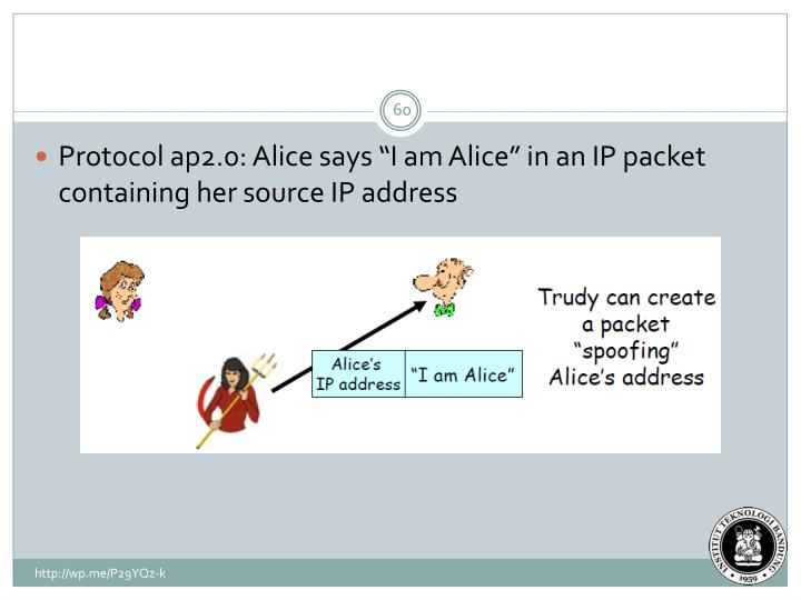 "Protocol ap2.0: Alice says ""I am Alice"" in an IP packet containing her source IP address"