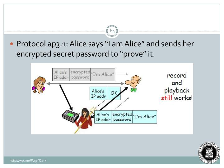 "Protocol ap3.1: Alice says ""I am Alice"" and sends her encrypted secret password to ""prove"" it."