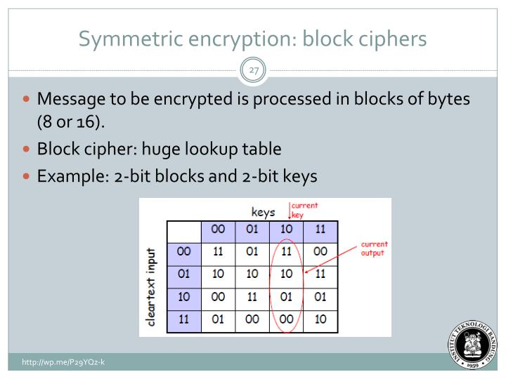 Symmetric encryption: block ciphers
