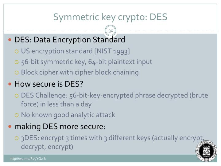Symmetric key crypto: DES