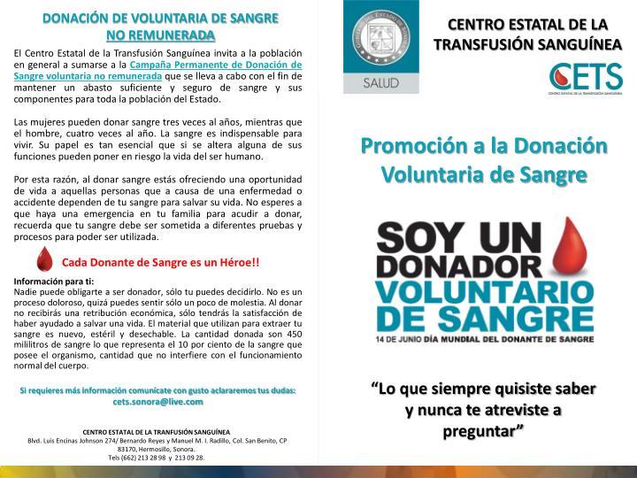 DONACIÓN DE VOLUNTARIA DE SANGRE