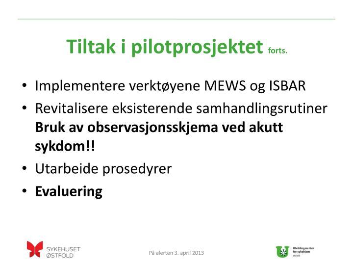 Tiltak i pilotprosjektet
