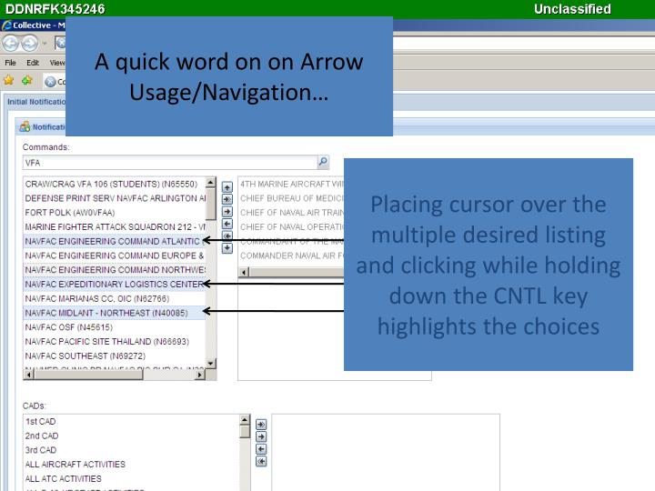 A quick word on on Arrow Usage/Navigation…