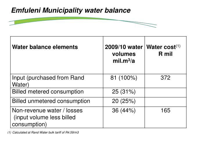Emfuleni Municipality water balance
