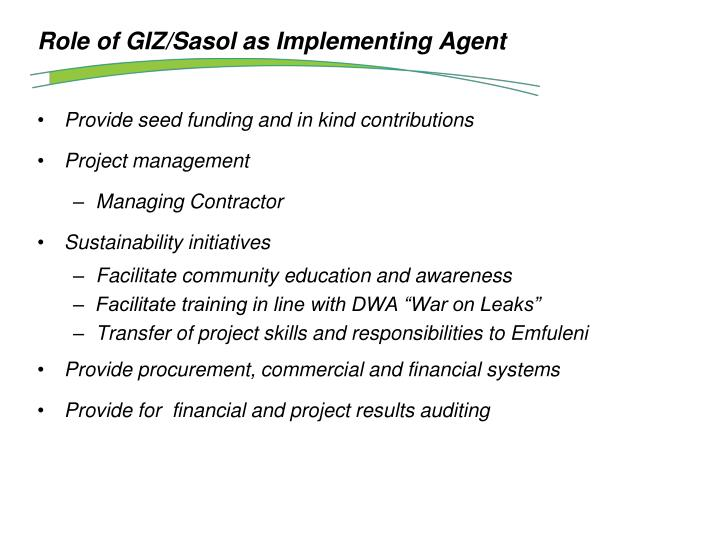 Role of GIZ/Sasol as Implementing Agent