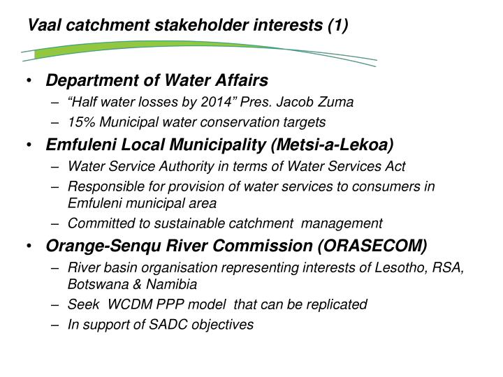 Vaal catchment stakeholder interests (1)