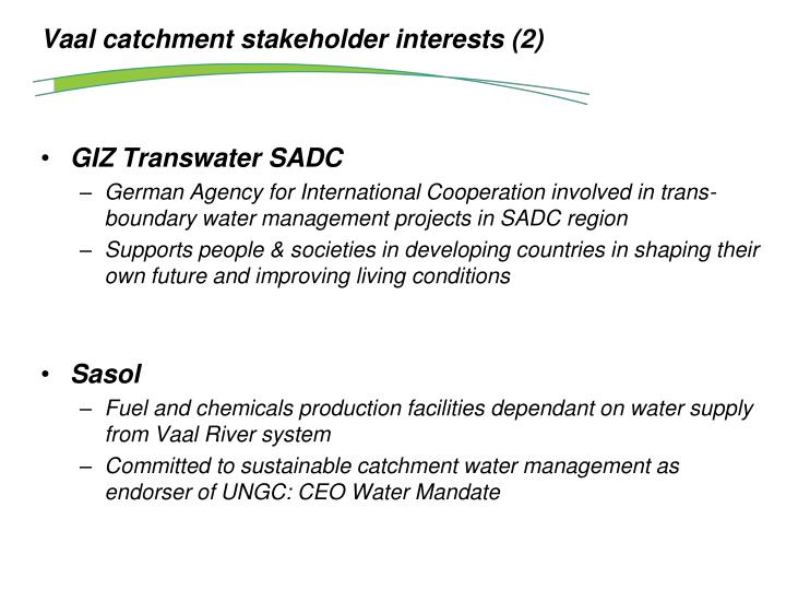 Vaal catchment stakeholder interests (2)