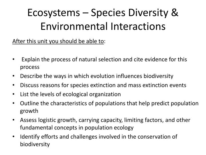 Ecosystems species diversity environmental interactions