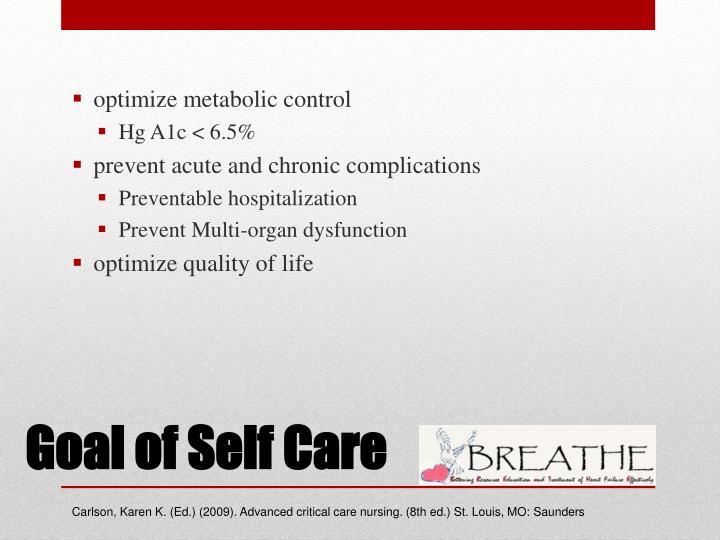 optimize metabolic control