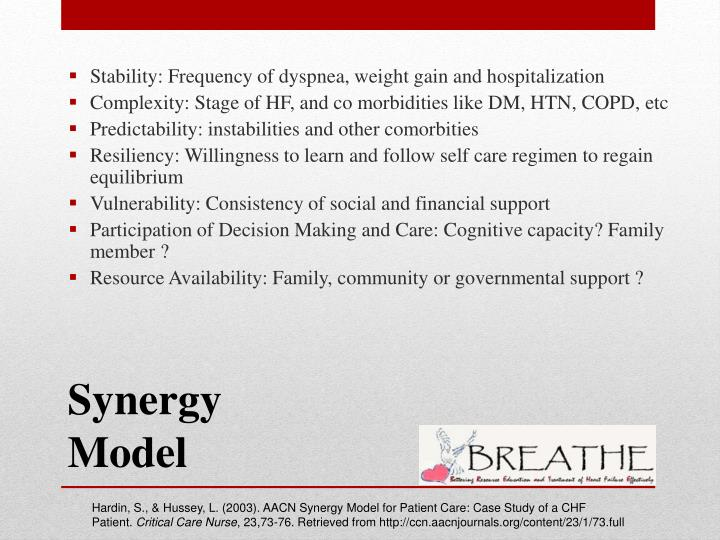 Stability: Frequency of dyspnea, weight gain and hospitalization
