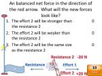 an balanced net force in the direction of the red arrow what will the new forces look like