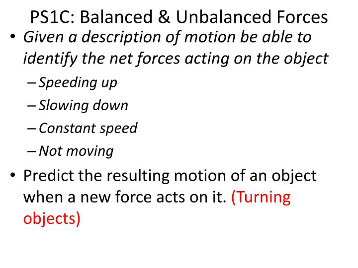 Ps1c balanced unbalanced forces