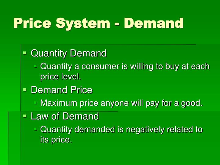 Price System - Demand