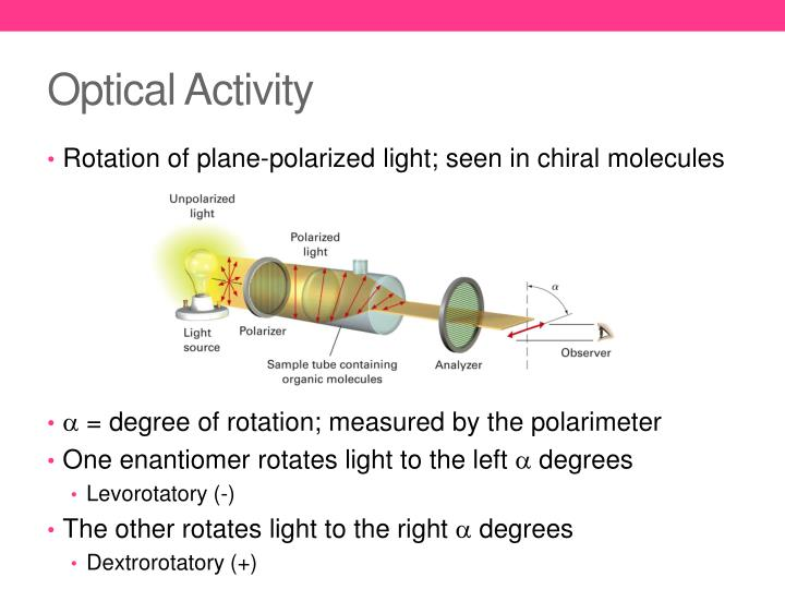 stereochemistry optical activity of chiral molecules Stereochemistry chirality  optical activity  they are chiral and they interact differently with other chiral molecules but not with other achiral molecules.