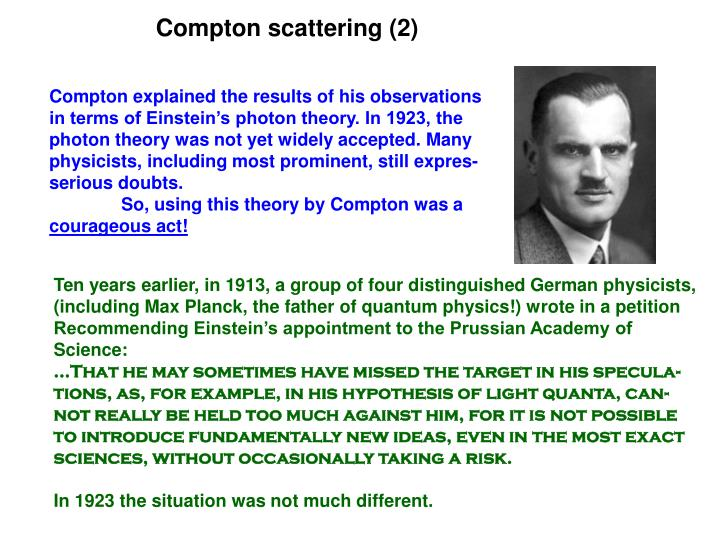 Compton scattering (2)