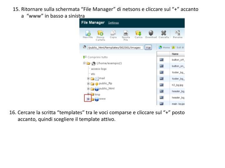 """15. Ritornare sulla schermata """"File Manager"""