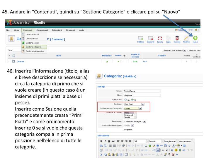 """45. Andare in """"Contenuti"""", quindi su """"Gestione Categorie"""" e cliccare poi su """"Nuovo"""""""